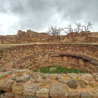 Overlooking the inside of a smaller kiva