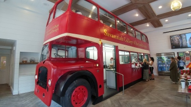 Very cool double decker bus in Art's cafe