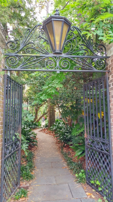 Beautiful iron gates grace this little walkway